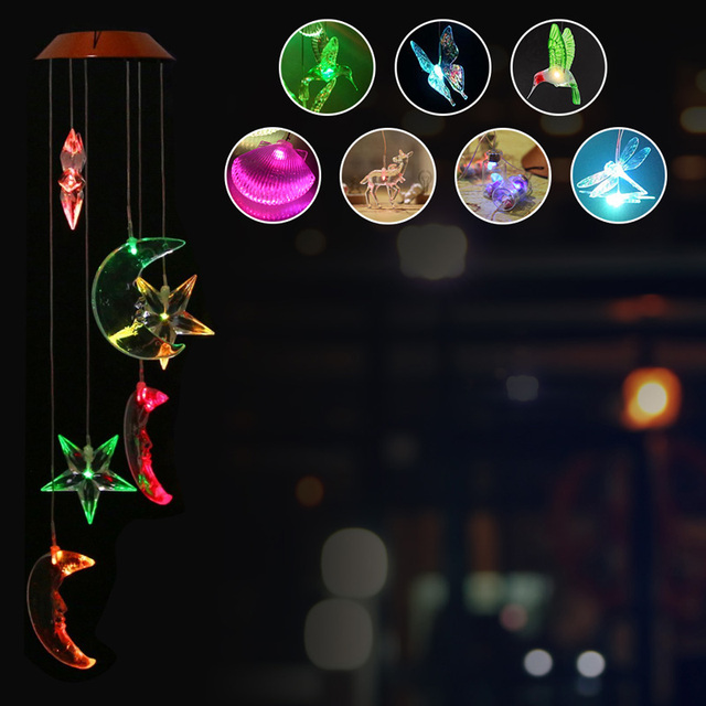 Solar power wind chime lamp humming bird butterfly dragonfly shell solar power wind chime lamp humming bird butterfly dragonfly shell elk led solar lamp outdoor light mozeypictures Choice Image