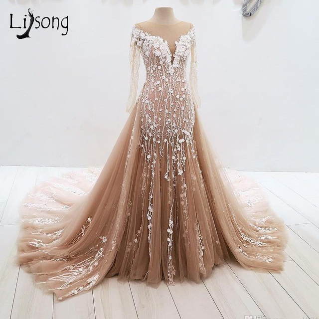 1a52597e980 Vintage Champagne Lace Mermaid Evening Dresses With Detachable Train Long Evening  Gown Full Sleeves 3D Flower Formal Party Dress