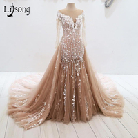 Vintage Champagne Lace Mermaid Evening Dresses With Detachable Train Long Evening Gown Full Sleeves 3D Flower Formal Party Dress