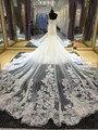 Новый Одно Плечо Свадебные Платья Собор Поезд vestido де noiva Кружева Аппликации одеяние де Mariage Русалка Платья Невесты