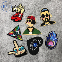 JOD Fashion DIY Biker Embroidery Patch Applique Clothes Decorative Iron on Patches for Clothing Stickers Middle Finger Badges @ jod 10 4cm 67 wing diy iron on decorative biker patches for clothes applications embroidery patch applique stickers badge fabric