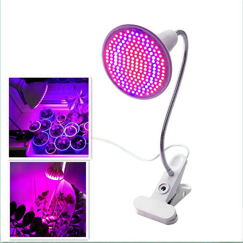 LumiParty Plant Grow Light 200LED 20W Single-head Clip Lamp with Red & Blue Light for Indoor Hydroponic Vegetable Cultivation