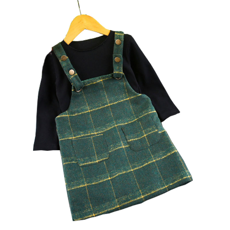 Hot sale children costume autumn fashion baby girls clothing set 2pcs long sleeve t-shirt + plaid pockets suspender skirt