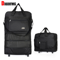 Duffel Bag Portable Travel Rolling Suitcase Air Carrier Bag Expandable Folding Oxford Suitcase Bags with Wheels Overnight Bag