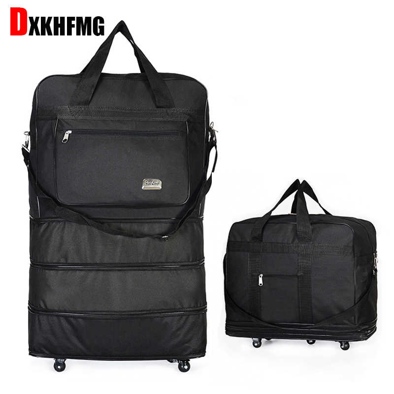 9af3cb0084f0 Duffel Bag Portable Travel Rolling Suitcase Air Carrier Bag Expandable  Folding Oxford Suitcase Bags with Wheels