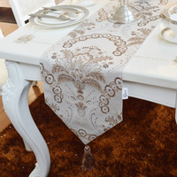 Fashion Amazing European vintage style gold leaf flowers table runner Lace Luxury Table flag