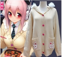 NEW Super sonico Cosplay Costume Sweet Pink Cute Ear Sweater Cardigans Christmas Costumes Girls Women Sweater
