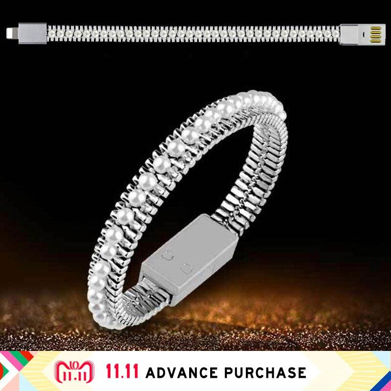 Perle bracelet chargeur câble ligne de Données usb charge pour téléphone smartphone fil micro rapide rapide de charge iphone X samsung S8 8 S9