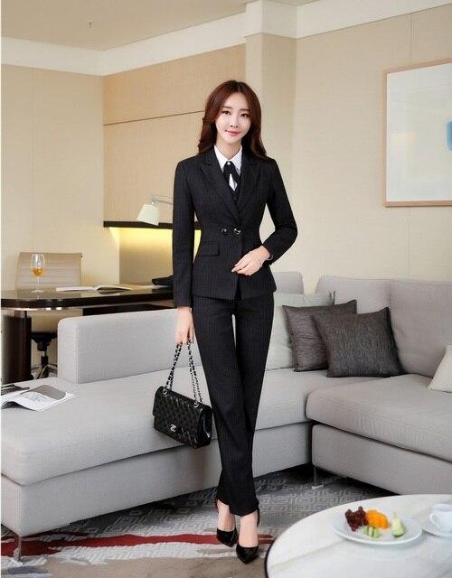 9c62a12df26 High Quality Fiber - Formal Black Blazer Women Business Suits 3 Piece Pant