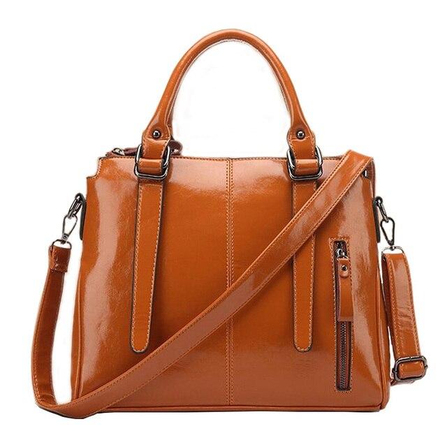 2016 Hot  Women Leather Handbags Women Handbag Europe and America Oil Wax leather Shoulder Bag Casual Women Bag