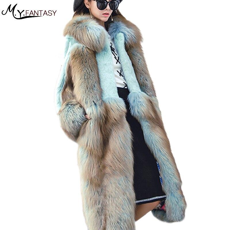 2019 Autumn And Winter Long Coat Can Wear Fur Mink Coat Real Fur Coat Light Gradient Color With Fur Hood Long Mink Coats