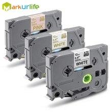 3 предмета в комплекте совместим для Ptouch TZe атласные ленты 12 мм 0,47 дюйма TZe-R231 TZe-R234 TZe-RE34 для Brother PTD200, PTD450, PTD600