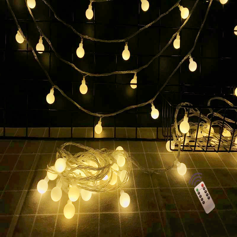 NEW Outdoor Wireless Remote Control Garland Fairy 10M 50LED Ball String Lights Wedding Home Indoor Garden Window Decoration