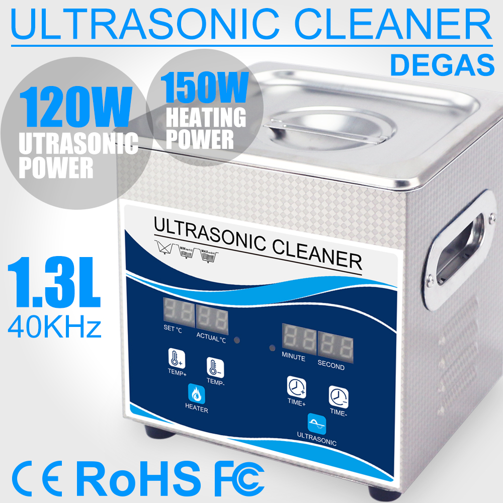 1.3L Ultrasonic Cleaner Bath 120W Power Ultrasound 40KHZ Degas Heater Glasses Atomizer Necklace Coins Bangle Sonic Machine Home|Ultrasonic Cleaners| |  - title=