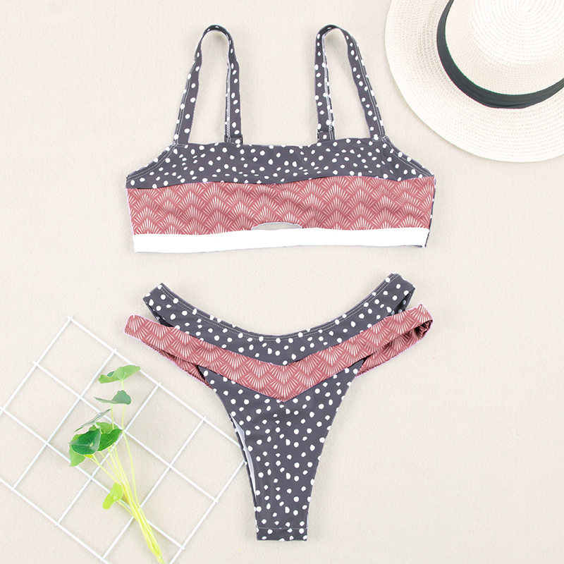 HTB11ut9aUGF3KVjSZFmq6zqPXXa2 Miyouj Push Up Bikinis Female 2019 New Biquini Floral Swimwear Women Bathing Suit Dot Swimsuit Women'S Beach Bandeau Bikini Set