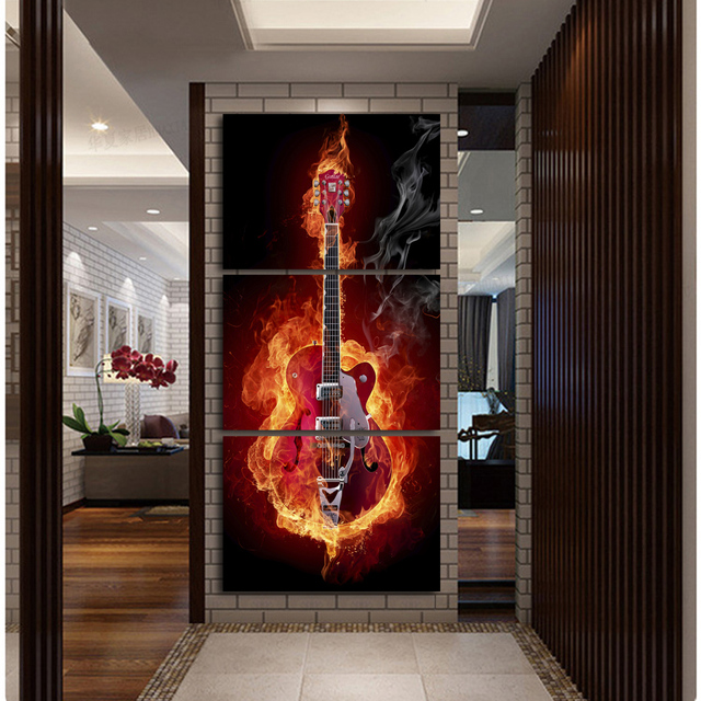 Music Art 3 Pieces Wall Painting Modern Home Decors Black Burning Guitar Pop Pictures Decoration
