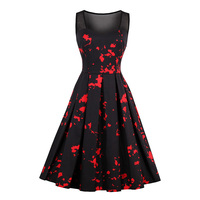 Sisjuly Women S Vintage Dress 2018 Summer Black Sleeveless O Neck 50s 60s Patchwork A Line