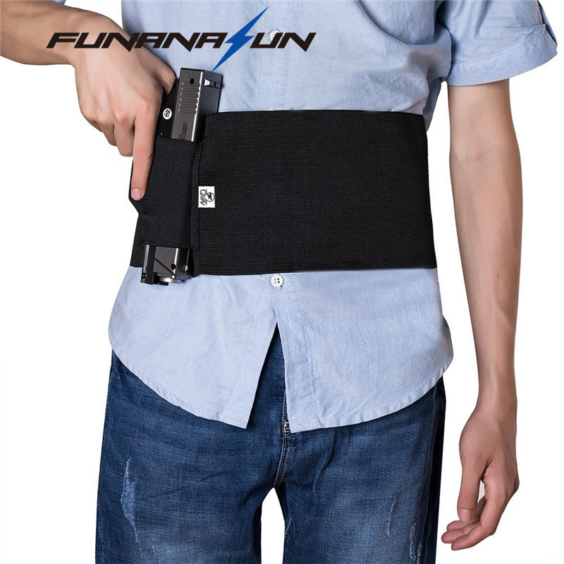 Concealed Carry Belly Band Gun Holster Under Cover Elastic Abdominal Band Pistol Holster With  Magazine Pouches