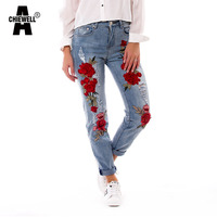 Acheiwell Summer Red Rose Embroidered Jeans For Women High Elastic Ripped Jeans Boyfriend Denim Pants XS 3XL