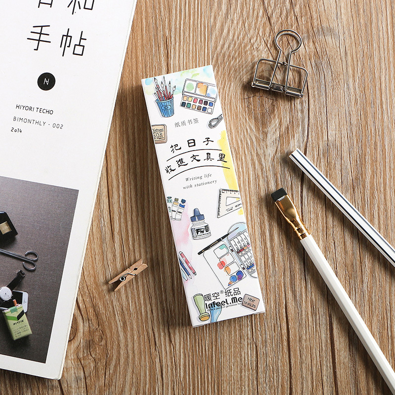 30 Pcs Cute Stationery Items Drawing Bookmark Set Vintage Memo Page Holder Marker Office School Supplies Marcador De Livro F047