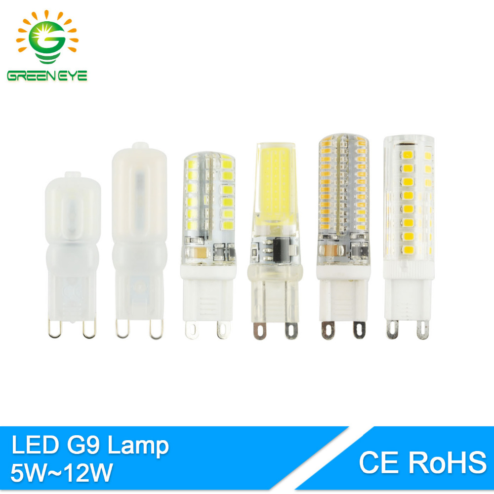 Greeneye led g9 5 w 12 12 w pode ser escurecido multi-estilo 220 v 7 w 9 w 10 led bulbe g9 luz substituir lâmpada de halogéneo cristal cerâmica cob lampara