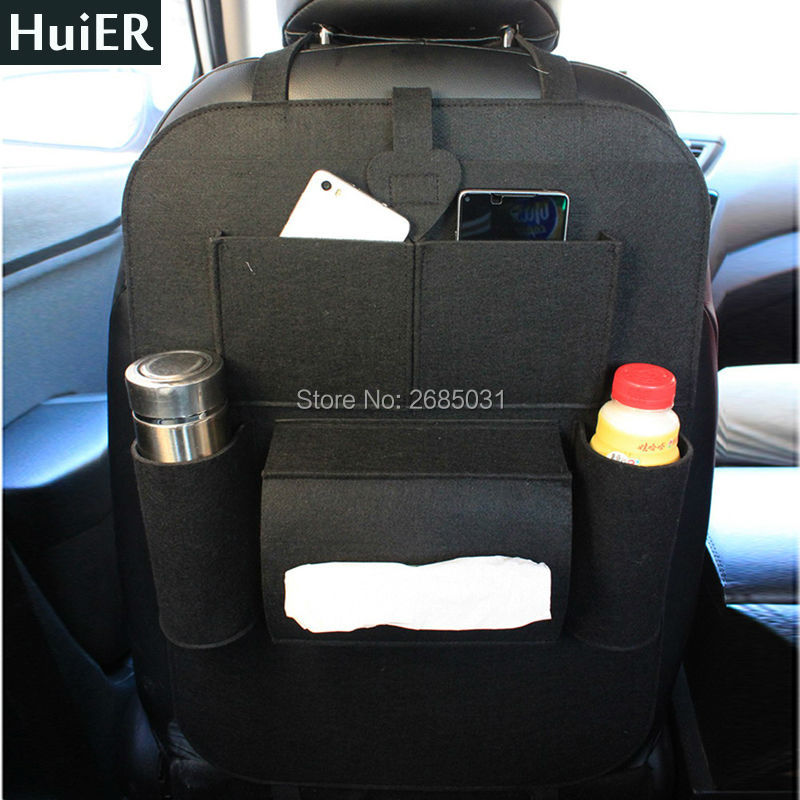 HuiER 1PC Car-styling Auto Car Back Seat Boot Organizer Felt Cover Multi-Pocket Storage Container Bag Stowing Tidying Seat Cover aumohall car multi pocket organizer large capacity folding storage bag trunk stowing and tidying