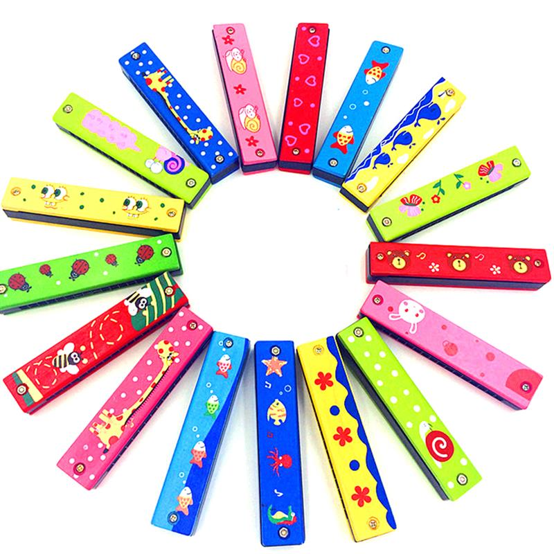 NEW Colorful Cartoon Printing 16 Hole Wooden Harmonica Musical Instrument Educational Toy Gift For Kids Random Colour Fun Toys ...