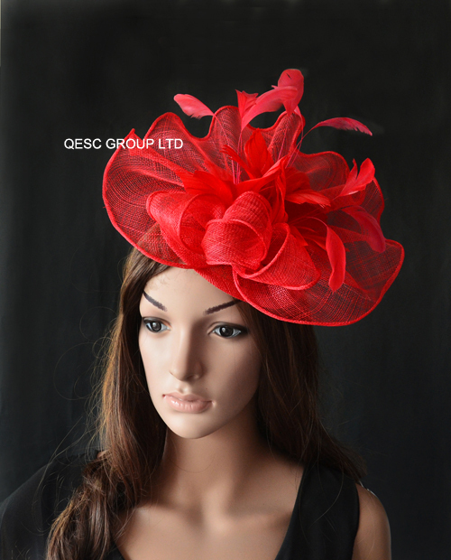 Wholesale Elegant NEW 9 colors Red Big Sinamay fascinator hat for Melbourne  Cup 4ee62bc9d36