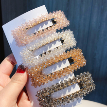 2019 New Fashion Crystal Beads Hair Clip For Women Rectangle Girls Snap Barrette Stick Hairpins Accessories