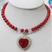 FREE Shipping 8mm Red Jades Beads Necklace Heart Pendant