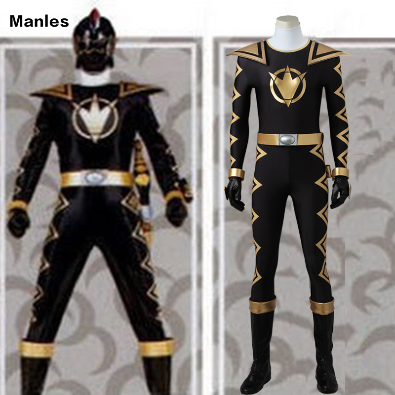 Costume For DinoThunder AbareBlack Cosplay Jumpsuit Dino Thunder Clothes Halloween Costume Carnival Black Outfit Boots Adult Men