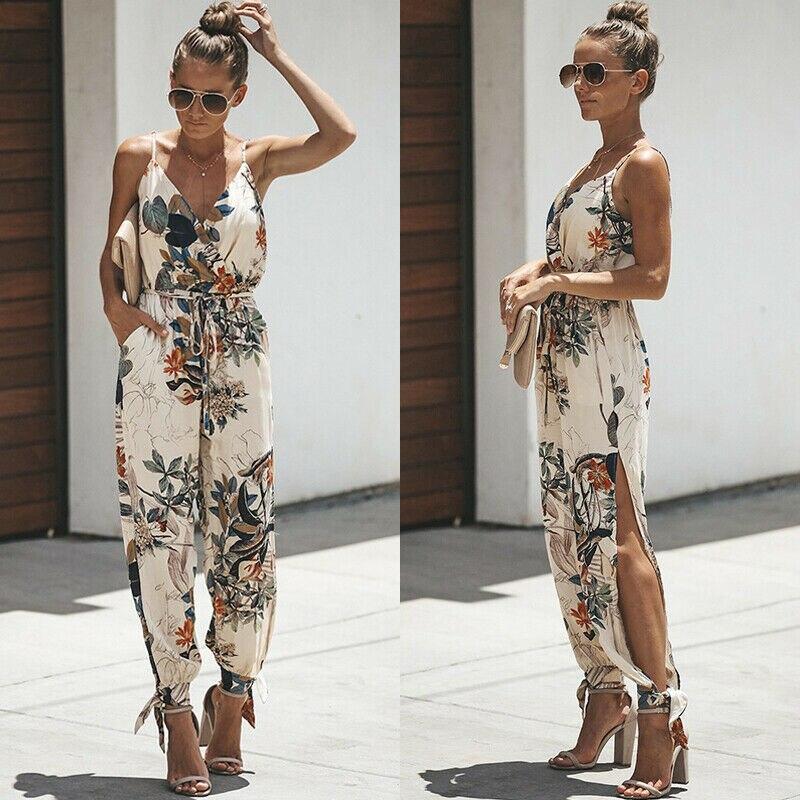 S-5XL Summer Women Casual Sleeveless V- Neck   Jumpsuits   Ladies Flower Print Bodysuit Wide Leg Pants Long Trousers Plus Size