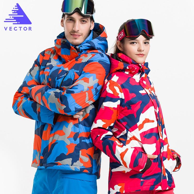 VECTOR Brand Skiing Jackets Waterproof  Warm Winter  Women & Men Snowboarding Ski Jacket Professional Outdoor Snow Sportwear grizzilla men and women ski jacket winter snowboarding suit men s outdoor warm waterproof windproof breathable skiing jackets