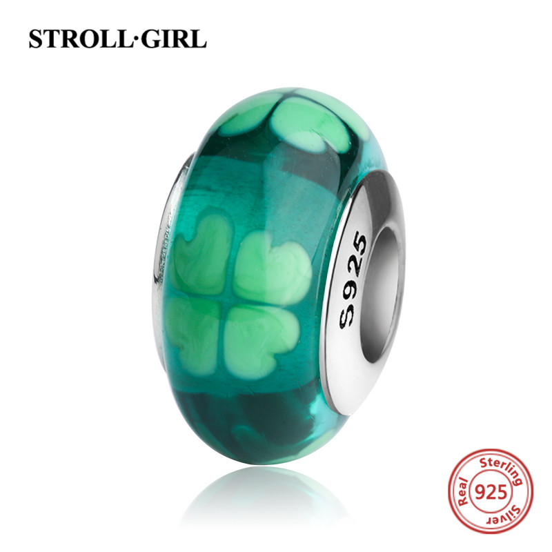 StrollGirl Four-leaf clover Murano glass beads 925 sterling silver diy charms fit original pandora bracelet jewelry making gifts