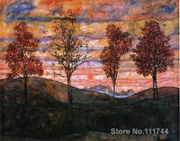 Abstract modern art Four Trees Egon Schiele paintings Handmade High Quality