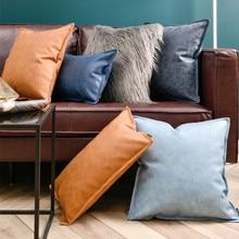 Роскошный домашний декор, Мягкая Наволочка из искусственной кожи, серый, синий, оранжевый, декоративная наволочка для подушки, 30X50 см, диванная подушка
