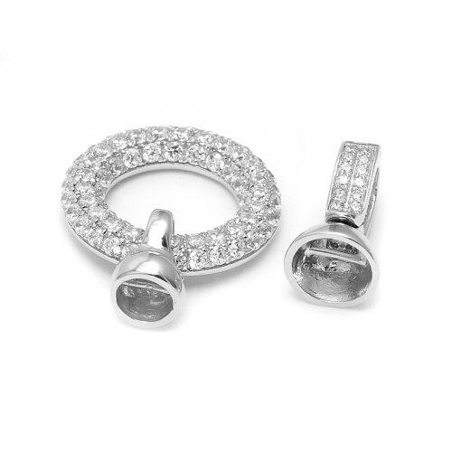 Rond Pave Zircon 925 bijoux en argent Sterling résultats embouts connecteur fermoirs pour bricolage perle collier Bracelet faisant la SC-CZ070 - 4