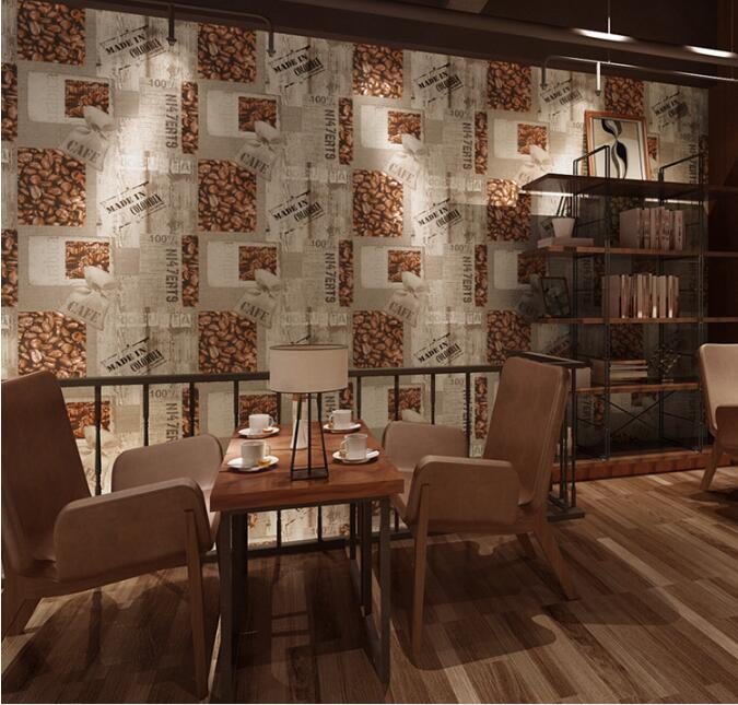 European Leisure Bar Wallpaper Vintage Food Restaurant Pvc