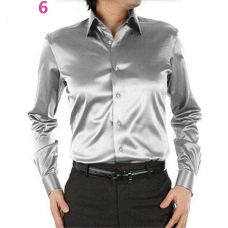Men dress shirt custom casual suits silk satin long sleeve for Long sleeve silk shirt dress