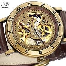 SHENHUA Retro Skeleton Mechanical Watch Men Bronze Steampunk Retro Leather Sport Automatic Wrist Watches Relogio Masculino
