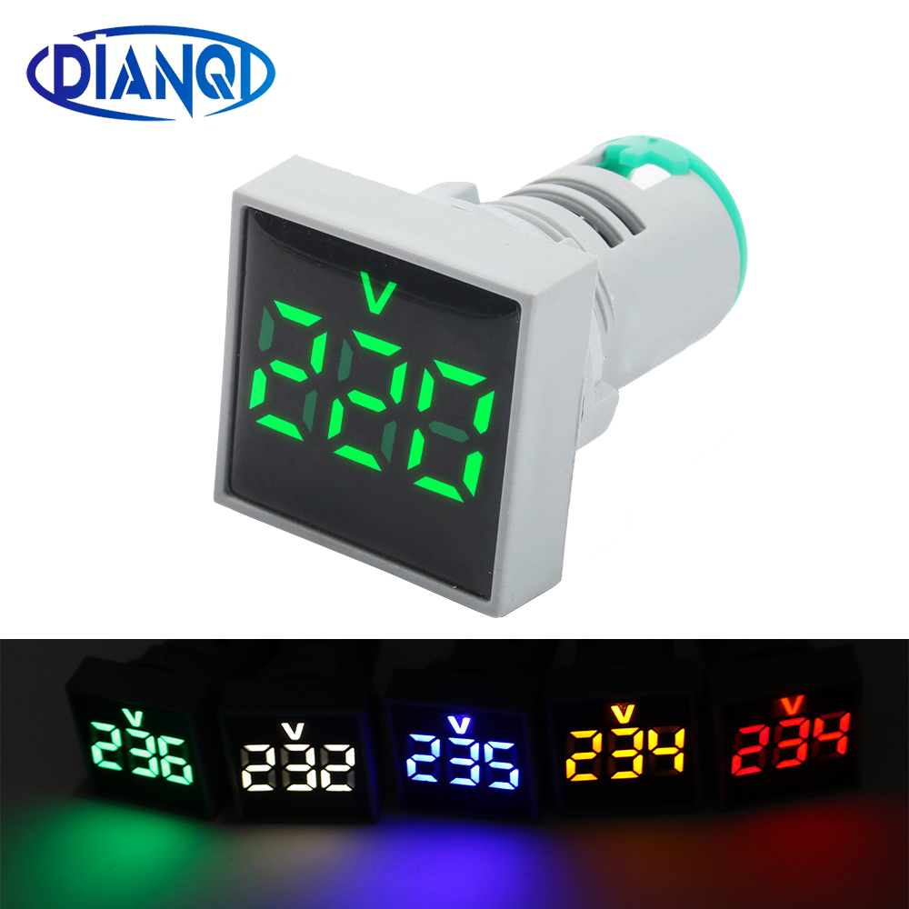 22mm AC60-500V  LED Digital Square Voltmeter Voltage Meter Indicator Pilot Light Red Yellow Green Blue White