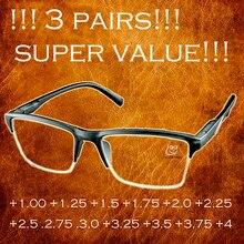 Não há nada melhor do que isso! !!3 pares!!! Alta qualidade meia-borda anti-fadiga óculos de leitura + 0.25 + 0.75 + 1.25 + 1.75 + 2.25 + 2.75 + 3.25 + +