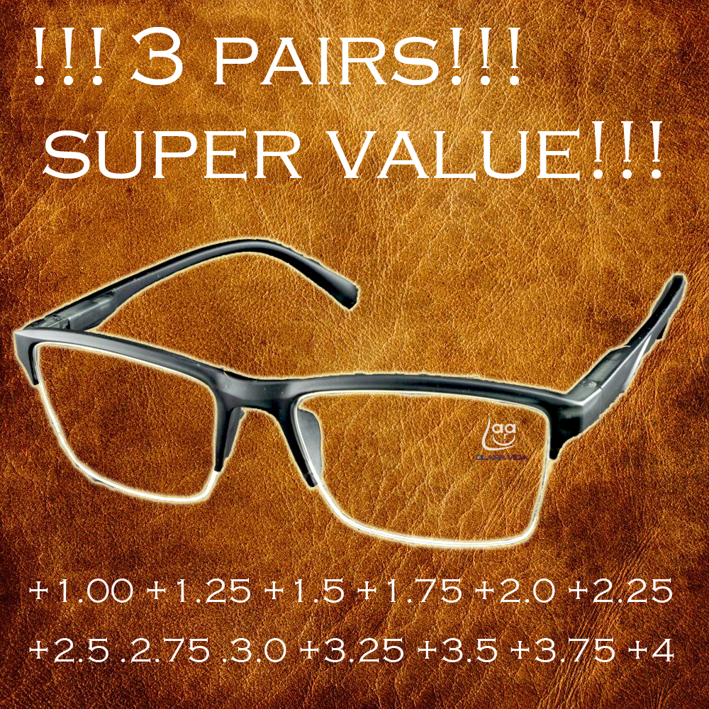 !!!3PAIRS!!! High quality half-rim black Anti-fatigue reading glasses +0.25 +0.75 +1.25 +1.75 +2.25 +2.75 +3.25