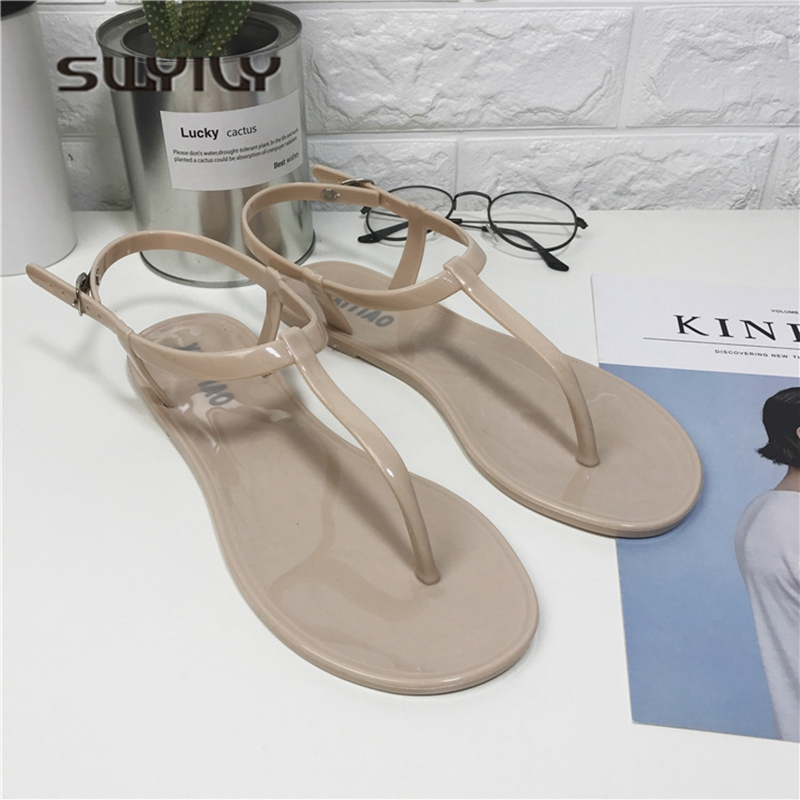 c1e6e735ba46 SWYIVY Woman Sandals Jelly Shoes 2018 Summer Flat T Straped Simple Female  Holiday Beach Sandals Woman Casual Shoes Sandals PVC-in Women s Sandals  from Shoes ...