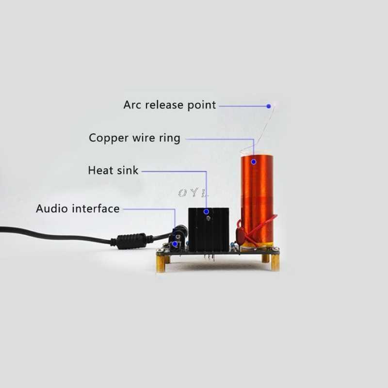 Мини музыкальный плазменный динамик с катушкой Тесла Беспроводная передача DIY катушка комплект