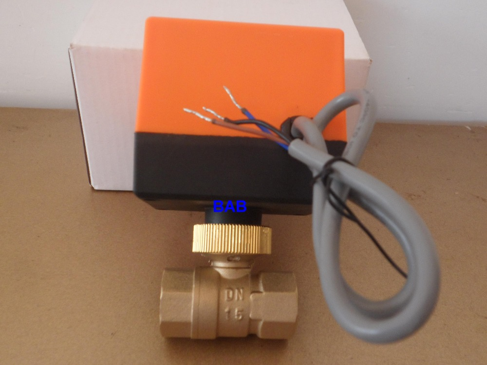 DN15(G 1/2) AC220V 2 way 3 wire motorized brass ball valve with electric actuator controller dn50 ac220v electric actuator brass ball valve cold
