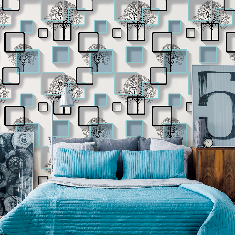 White,Purple,Blue Modern 3d Wallpaper For Living room Bedroom TV Background Home Decoration Squares Pattern Wall Paper Roll Herbal Products
