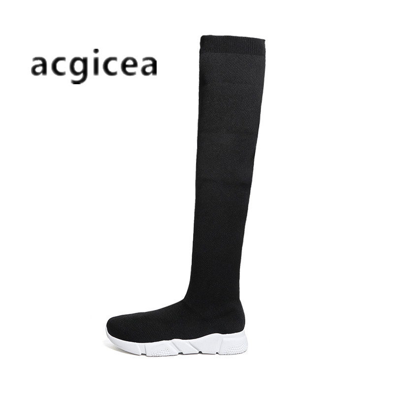 Stretch boots women's high socks women's winter new 2018 fashion long tube breathable flat bottom wild boots q100