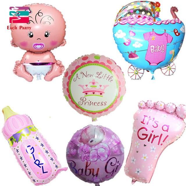 Baby Shower Air Balloons 1th Birthday Party Decoration Foil Balloons Baby Girl & Boy Happy Birthday Helium balls globos 6pcs/lot