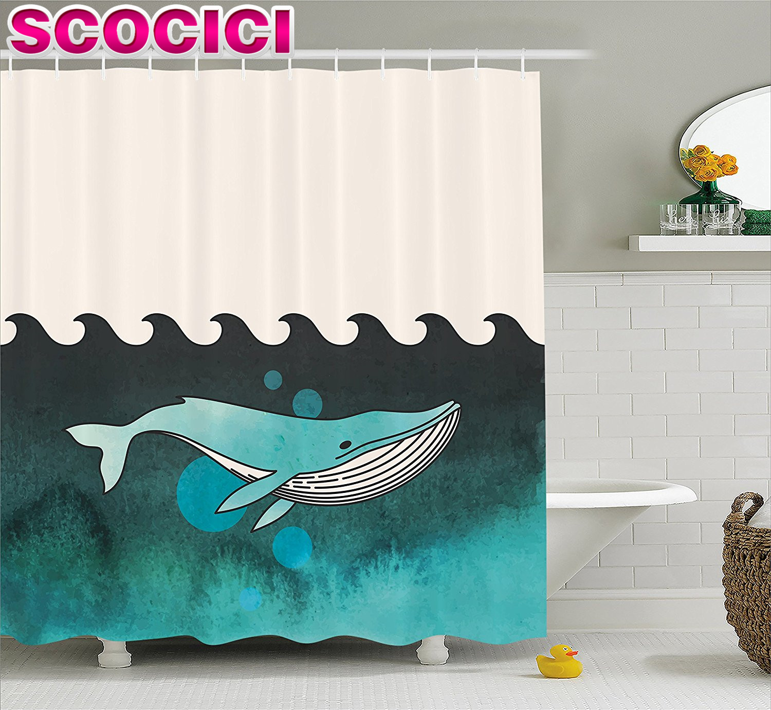 Whale Decor Shower Curtain Huge Whale Swimming Under the Ocean Near an Palm Island with Wooden Skull Fabric Bathroom Decor Set G